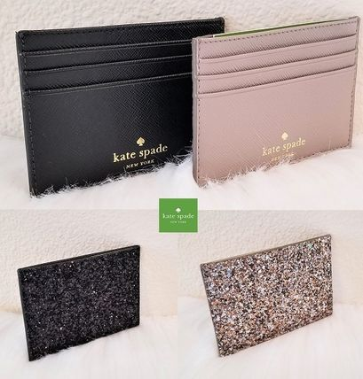 Blended Fabrics Plain Leather Card Holders