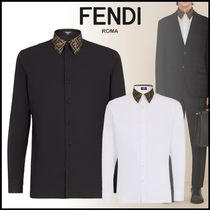 FENDI Button-down Long Sleeves Plain Cotton Logo Shirts