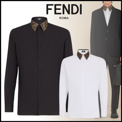 FENDI Shirts Button-down Long Sleeves Plain Cotton Shirts