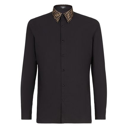 FENDI Shirts Button-down Long Sleeves Plain Cotton Shirts 2