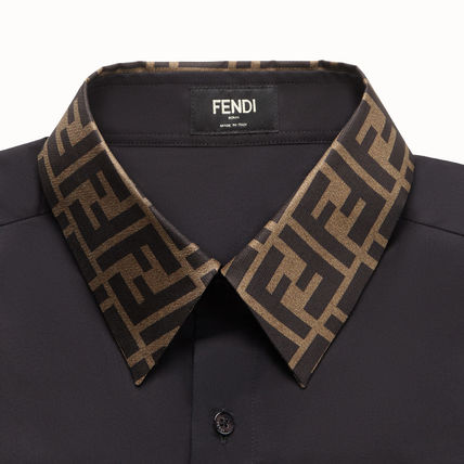 FENDI Shirts Button-down Long Sleeves Plain Cotton Shirts 4