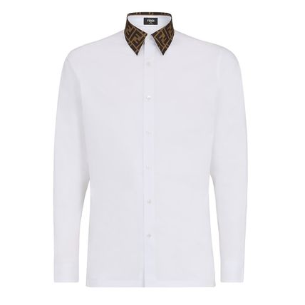FENDI Shirts Button-down Long Sleeves Plain Cotton Shirts 5