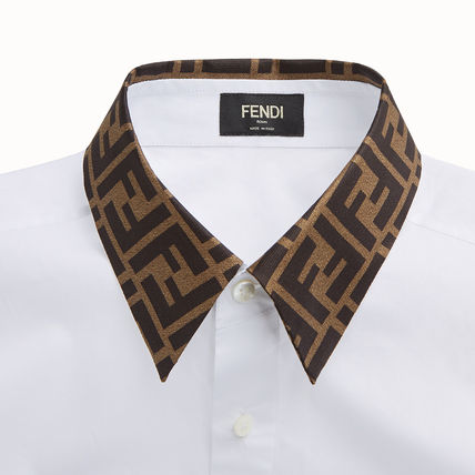 FENDI Shirts Button-down Long Sleeves Plain Cotton Shirts 7
