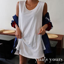 U-Neck Plain Cotton Long Oversized Tanks & Camisoles