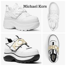 Michael Kors Round Toe Rubber Sole Casual Style Street Style Plain