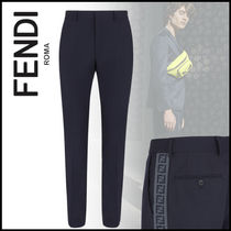 FENDI Slax Pants Wool Plain Logo Slacks Pants