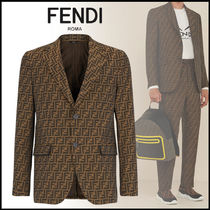 FENDI Short Monogram Logo Blazers Jackets