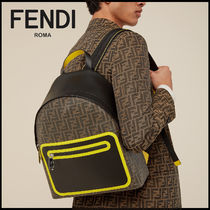FENDI Monogram Calfskin Street Style Logo Backpacks
