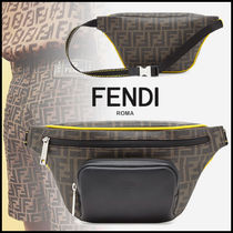 FENDI Monogram Calfskin Street Style Hip Packs