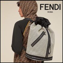FENDI Monogram Canvas Street Style Backpacks