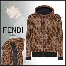 FENDI Monogram Street Style Long Sleeves Logos on the Sleeves Logo