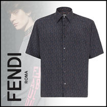 FENDI Button-down Monogram Cotton Logo Shirts