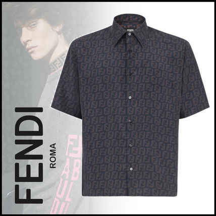 FENDI Shirts Button-down Monogram Cotton Shirts