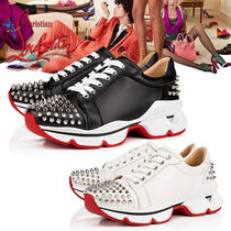 Christian Louboutin Casual Style Studded Street Style Leather Low-Top Sneakers