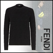FENDI Crew Neck Pullovers Monogram Wool Long Sleeves