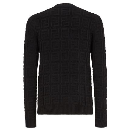 FENDI Knits & Sweaters Crew Neck Pullovers Monogram Wool Long Sleeves 3