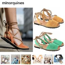 minorquines Open Toe Lace-up Leather Block Heels Elegant Style