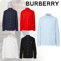 Burberry Long Sleeves Plain Cotton Shirts