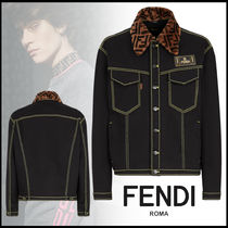 FENDI Short Denim Street Style Plain Denim Jackets Logo Jackets