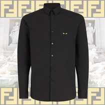 FENDI BAG BUGS Button-down Long Sleeves Plain Cotton Shirts
