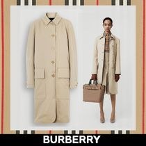 Burberry Stand Collar Coats Other Check Patterns Plain Long Coats
