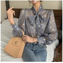 Dots Casual Style Long Sleeves Shirts & Blouses