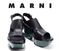 MARNI Bi-color Leather Block Heels Heeled Sandals