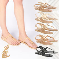 ANCIENT GREEK SANDALS Open Toe Casual Style Plain Leather Sandals