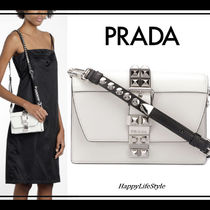 PRADA ELEKTRA Casual Style Studded 2WAY Plain Leather Shoulder Bags