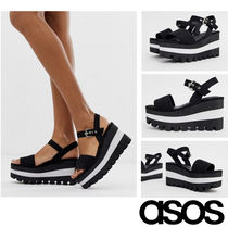 ASOS Stripes Open Toe Platform Casual Style Blended Fabrics