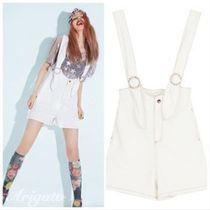 ELF SACK Short Dungarees Casual Style Street Style Plain Cotton