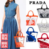 PRADA Casual Style Crystal Clear Bags PVC Clothing Totes