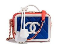 CHANEL Calfskin Blended Fabrics Vanity Bags Bi-color Shoulder Bags
