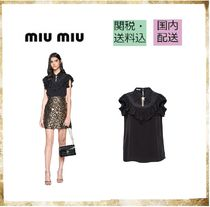 MiuMiu Star Silk Short Sleeves With Jewels Elegant Style