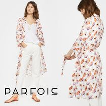 PARFOIS Flower Patterns Casual Style Long Jackets