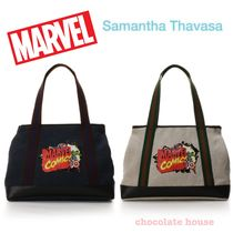 Samantha Thavasa Casual Style Unisex Canvas Collaboration A4 Plain Totes
