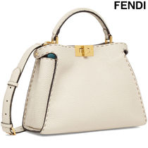 FENDI PEEKABOO Casual Style Calfskin 2WAY Plain Handbags