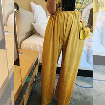 Silk Plain Long Oversized Elegant Style Wide Leg Pants