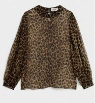 CELINE Leopard Patterns Silk Puffed Sleeves Medium Shirts & Blouses