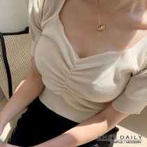 Short Casual Style Puffed Sleeves V-Neck Plain Cropped