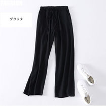 Casual Style Linen Plain Long Oversized Wide Leg Pants
