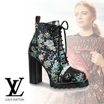 Louis Vuitton Flower Patterns Rubber Sole Leather Ankle & Booties Boots