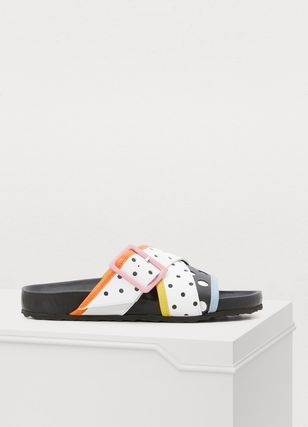 Dots Tropical Patterns Open Toe Rubber Sole Casual Style