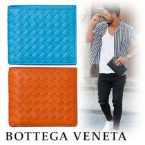 BOTTEGA VENETA Unisex Street Style Leather Folding Wallets