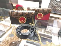FENDI Monogram Chain Leather Elegant Style Shoulder Bags