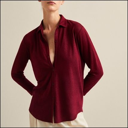 Linen Long Sleeves Plain Medium T-Shirts