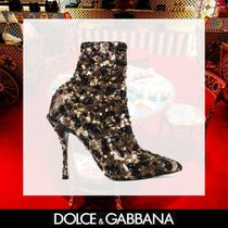 Dolce & Gabbana Leopard Patterns Square Toe Pin Heels Elegant Style