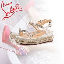 Christian Louboutin Open Toe Studded Leather Elegant Style
