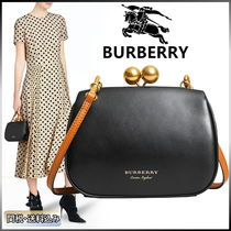 Burberry Casual Style Calfskin Plain Shoulder Bags