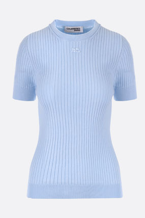 Courreges Sweaters Cotton Short Sleeves Sweaters 2